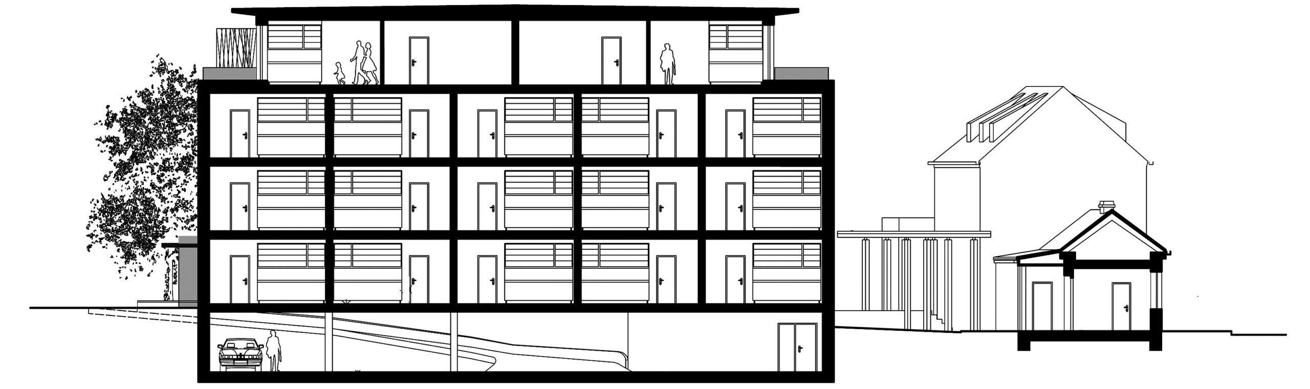 Novostavba obytného domu, Société Civile de la Villa Matisse, Valenciennes, Francie, boční řez