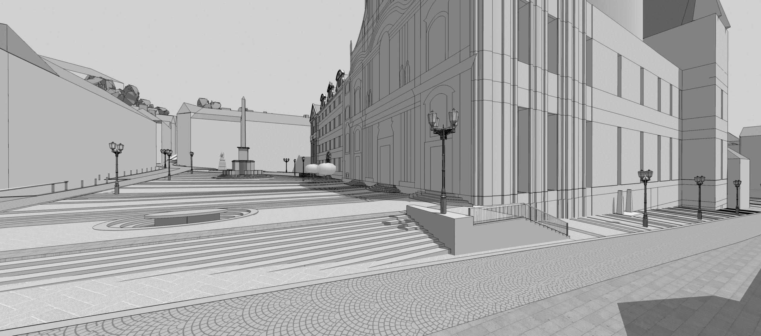 Soutěžní návrh revitalizace dolní a horní části Malostranského náměstí, Praha 1