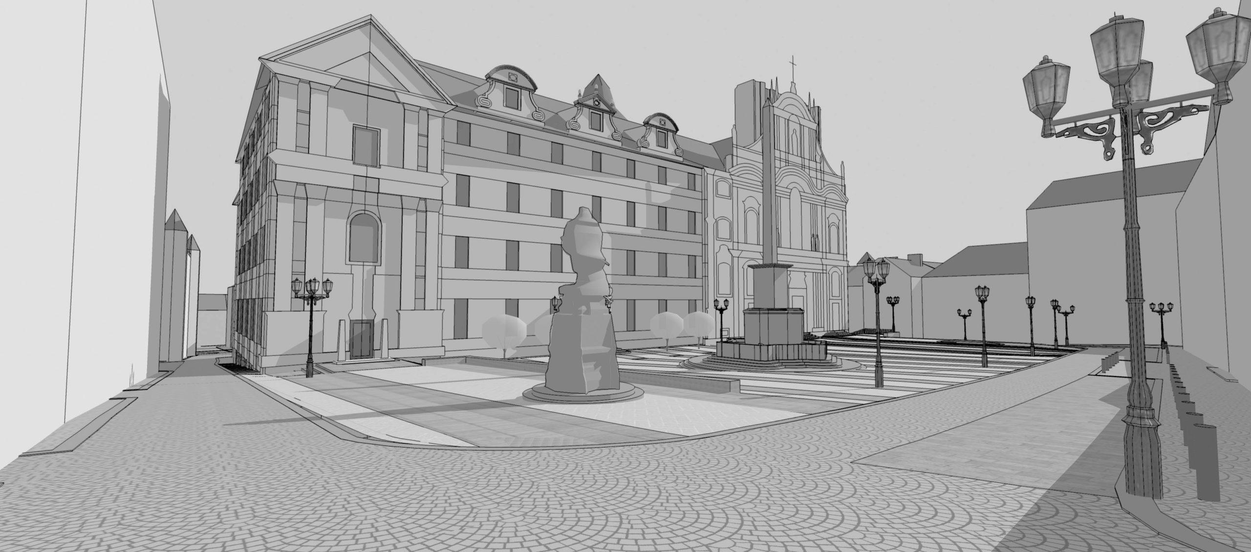 Soutěžní návrh revitalizace dolní ahorní části Malostranského náměstí, Praha 1