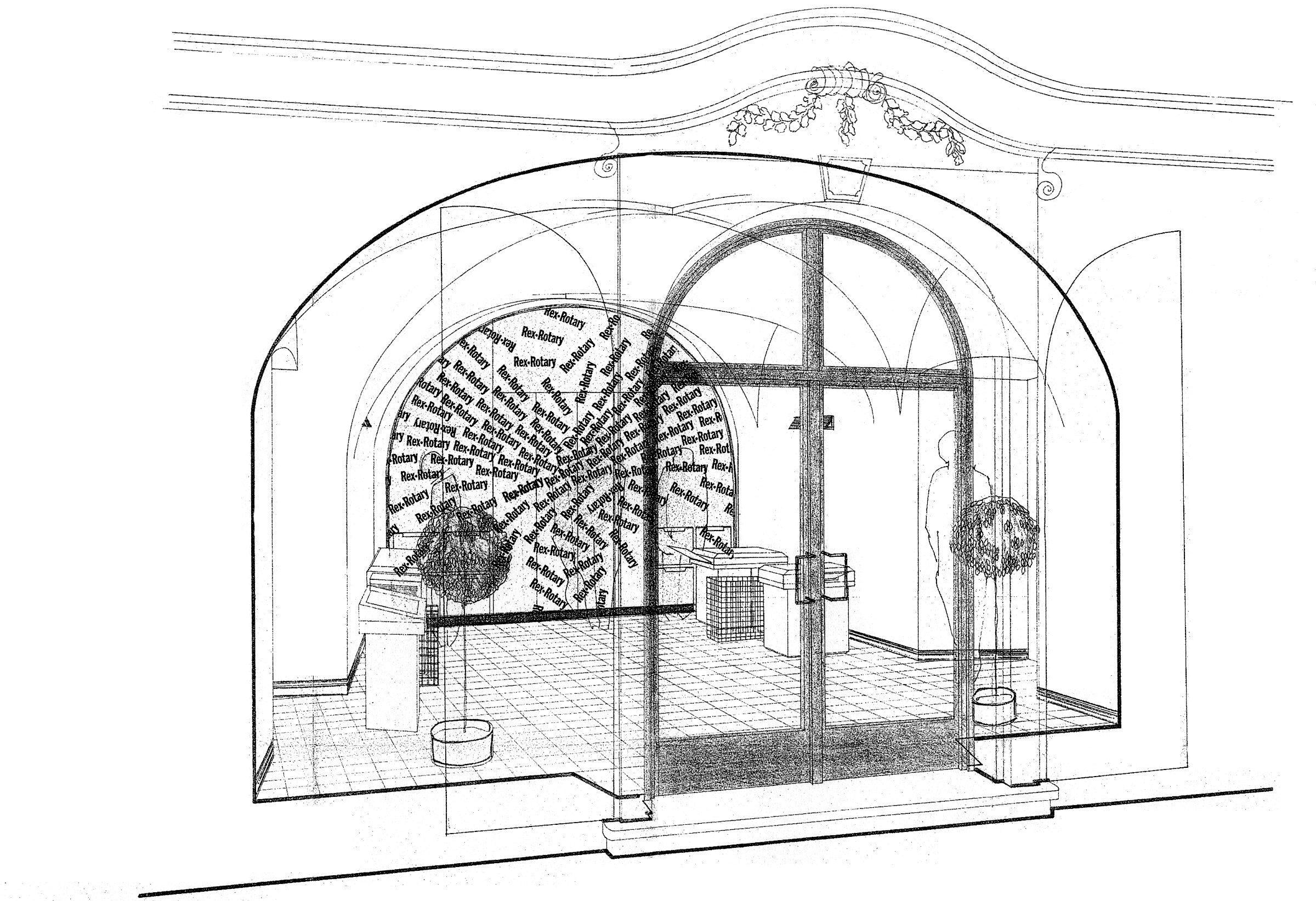 Axonometrie interiéru technicko-poradenského střediska firmy Rex Rotary, Praha 1